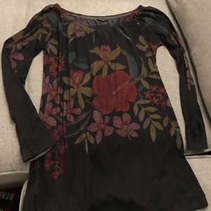 Black Floral long-sleeved soft sweater tunic/dress